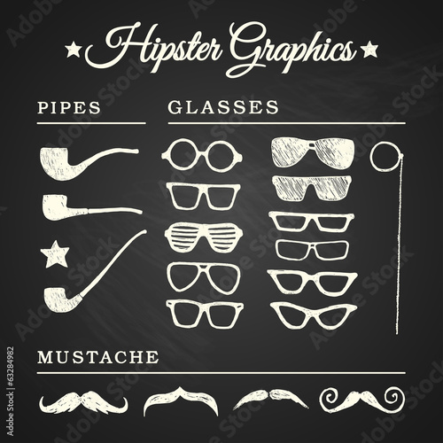 Hipster graphic set with glasses, pipes and mustache on chalkboa