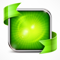 Metallic square green icon on white, vector illustration