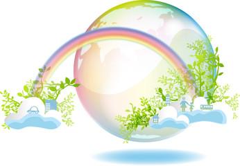 虹と緑と雲と地球