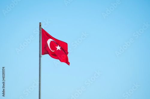 Turkish flag on a background of blue sky
