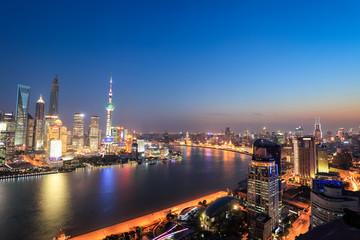 shanghai panoramic view at night