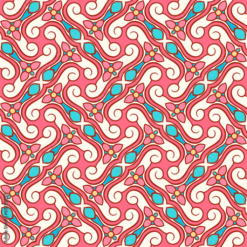 pink and blue abstract floral pattern