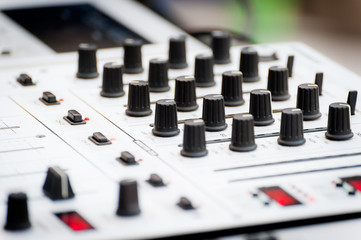 Close-up of sound mixer control panel