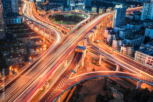 Foto op Aluminium Nacht snelweg closeup of the modern city viaduct junction