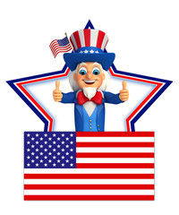 Uncle Sam with best luck sign
