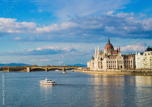 Parliament Building on the Danube river in Budapest