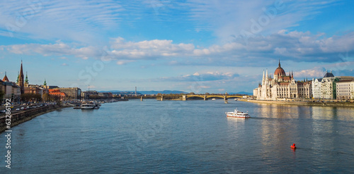 Panoramic view of the banks of the Danube in Budapest,