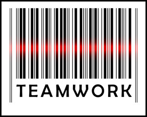 Bar Code icon and red laser sensor beam over teamwork