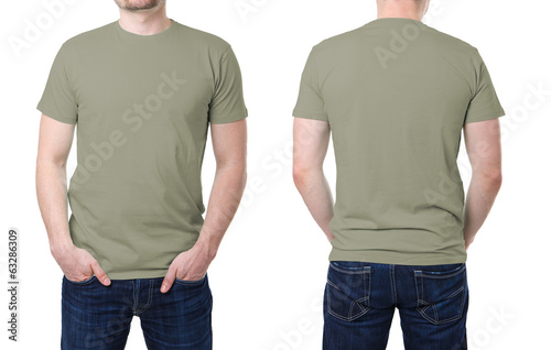 Khaki t shirt on a young man template