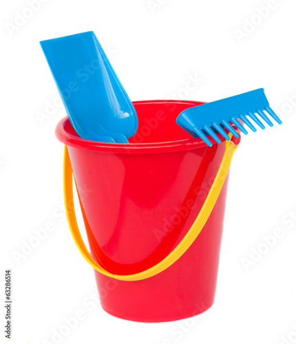 Beach bucket with spades