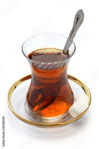 Turkish tea isolated on white background