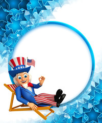 Uncle Sam is sitting on the chair