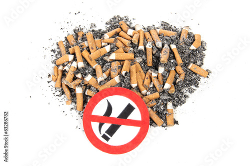 Sign of nicotine butts