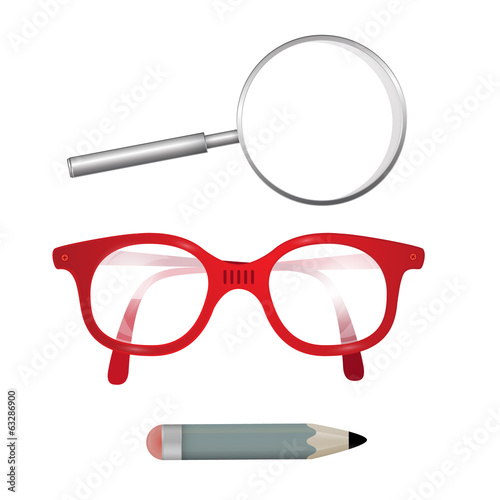 Vector Glasses, Pencil, Magnifying Glass