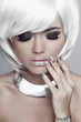 Fashion blond girl with White Short Hair. Manicured nails. Mulat