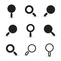 Black Magnifying Glass Square Icons Set