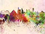 Memphis skyline in watercolor background poster