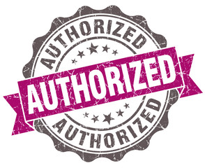 Authorized violet grunge retro style isolated seal