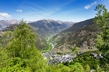 The charming town in the valley of the Pyrenees