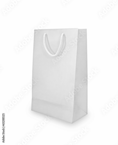 White shopping bag isolated.
