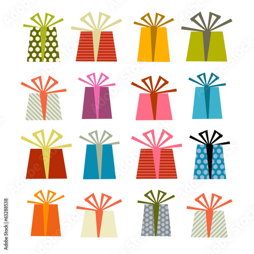 Retro Vector Gift Boxes Set Illustration