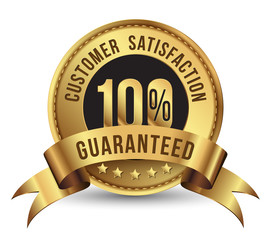 Customer satisfaction guaranteed gold badge.