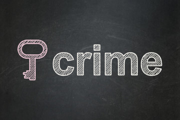 Security concept: Key and Crime on chalkboard background