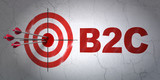 Business concept: target and B2c on wall background poster