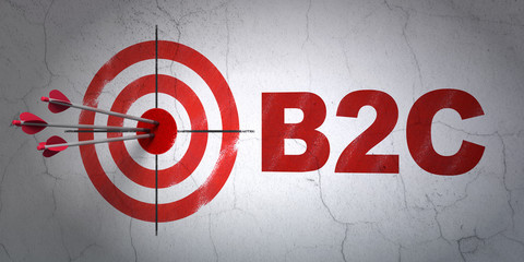Business concept: target and B2c on wall background