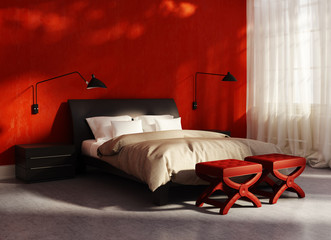 Contemporary elegant luxury red bedroom with large windows