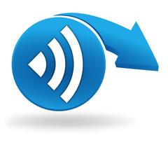 réseau sur bouton bleu