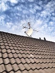 Satellite- und Analogantenne auf dem Dach