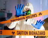 Scientist hazardous biochemicals laboratory. poster