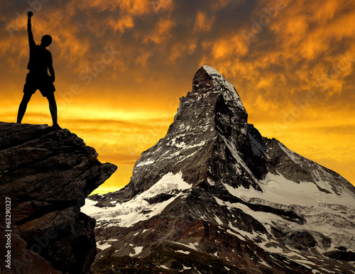 Silhouette of tourist in Swiss Alps