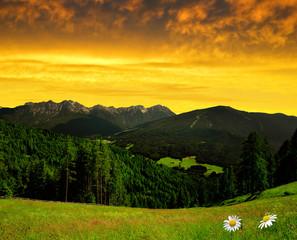 Beautiful mountain scenery, Bruneck, Italy Alps