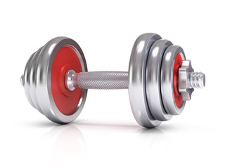 Big chrome dumbells over white background