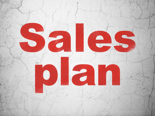 Advertising concept: Sales Plan on wall background