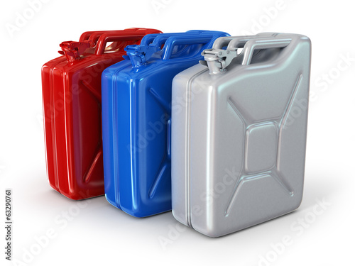 Three fuel container isolated on white