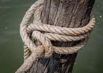 ropes on the wooden boat