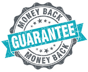 Money back guarantee blue grungy old style isolated seal