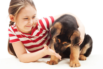 little girl and a German Shepherd puppy