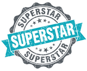 Superstar blue grunge retro style isolated seal