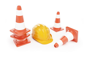road cone hardhat on a white background