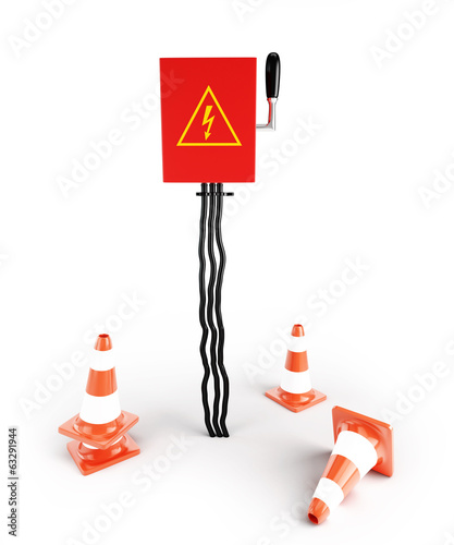 Road cone Electrical panel on a white background