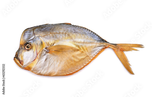 Smoked moonfish isolated on white