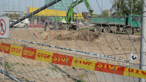 stop line bar excavator dig dirt truck construction site