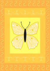 Schmetterling auf Rechtecken mit Flourish Muster