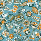 Vector seamless pattern of vintage sport badges