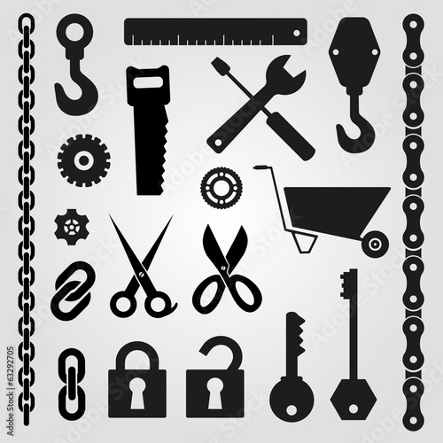 Hand tools - set of vector icons