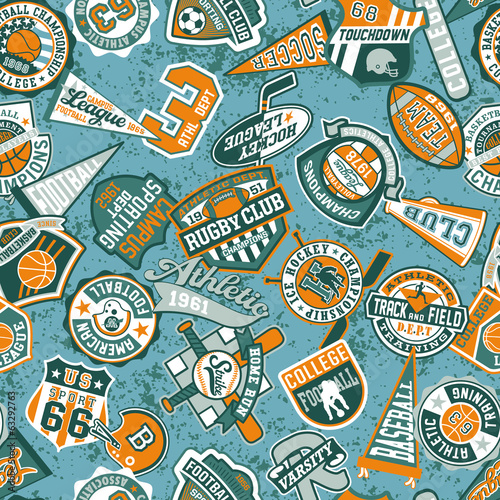 Vector seamless pattern of vintage sport badges